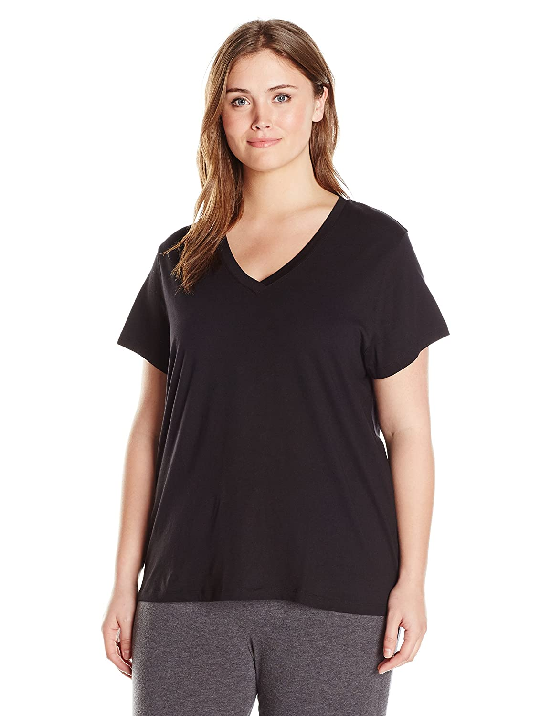Hue Womens Plus-Size Short Sleeve V-Neck Black Tee Plus Size Hue Women' s Sleepwear PJ34158