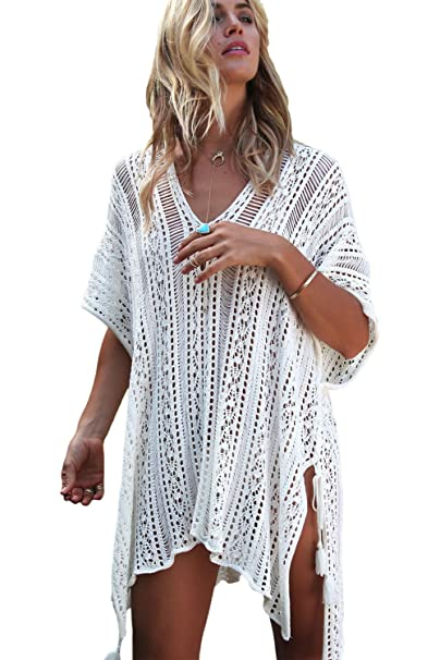 113983061e Chilly Jilly Bohemian Crochet Swim Cover up Bikini Tunic Beach Dress with  Side Tie Tassels (