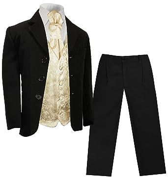 97de41f2b85cf7 Paul Malone - Festlicher Kinderanzug (tailliert) schwarz + Champagner  Hochzeit Weste + Plastron 1