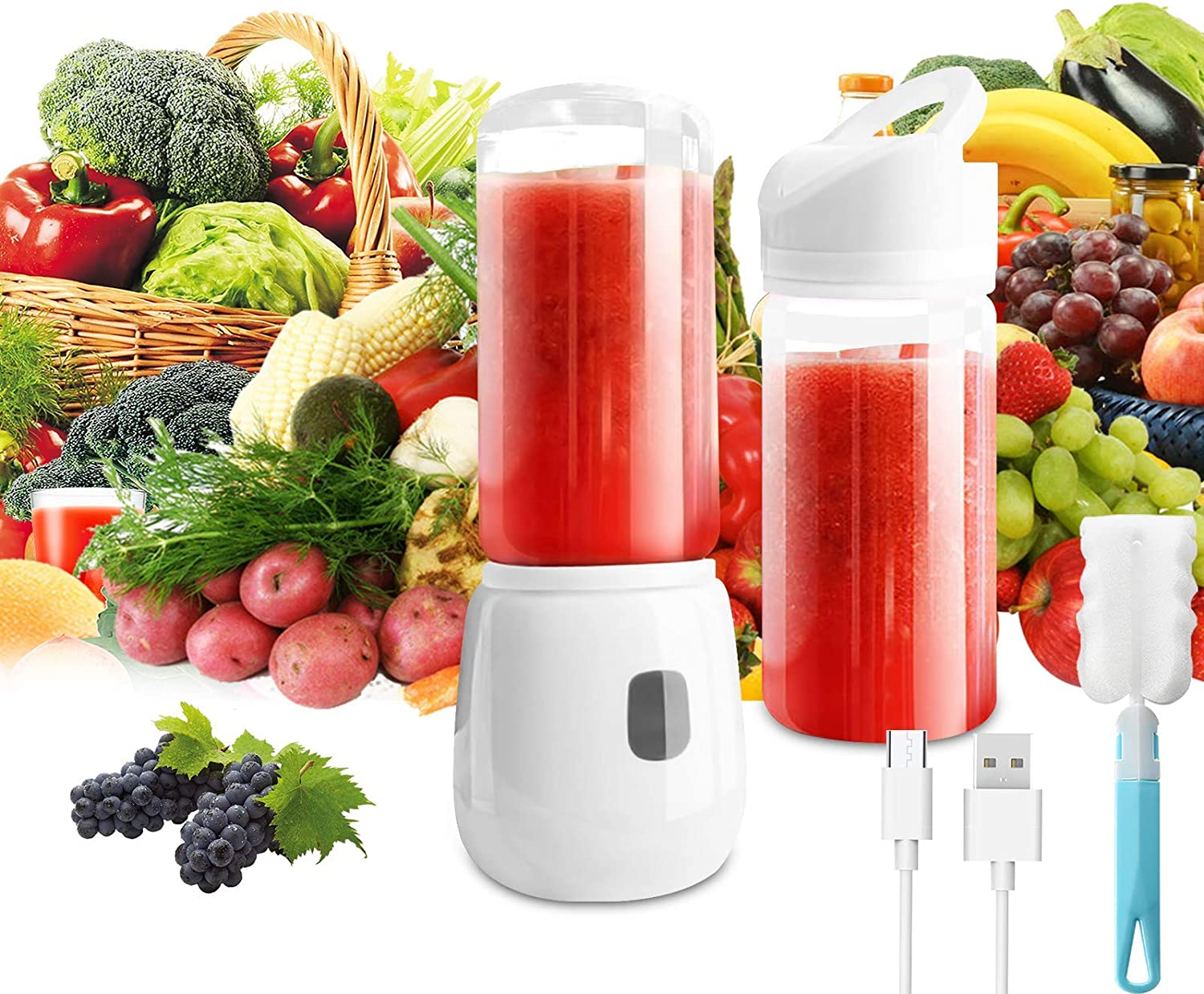 Blender 14 Oz, Mini Portable Blender USB Rechargeable, Personal Size Blender for Fruit, Juice, Milk Shakes and Smoothies (White)