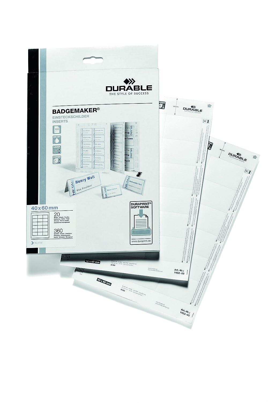 DURABLE 145602 - Badgemaker, cartoncini inserto per portanome, 60x90 mm (HxL), bianco, confezione da 160 inserti 1456/02