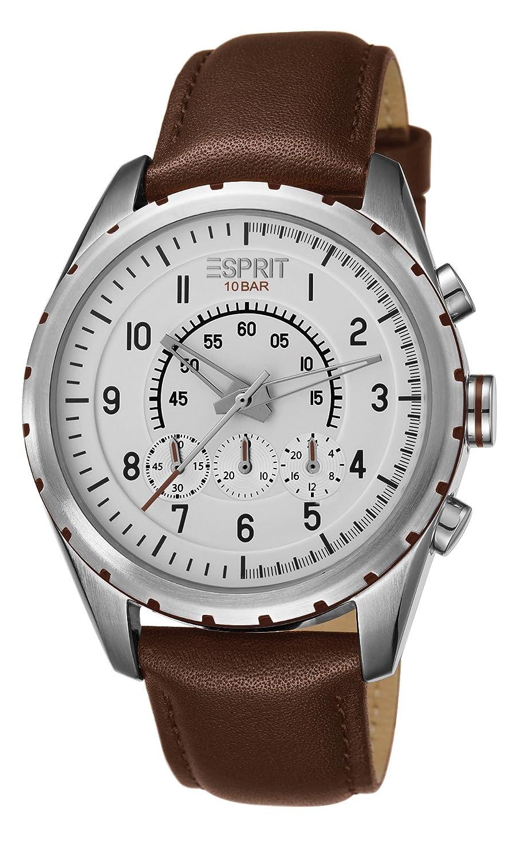 Esprit ES105351002 - Reloj analógico de Cuarzo para Hombre, Correa de Cuero Color marrón