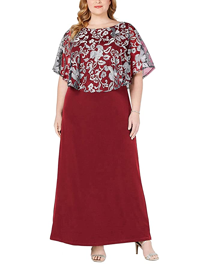 Vintage Christmas Gift Ideas for Women Jhichic Womens Plus Size Embroidered Capelet Maxi Dress Mesh Lace Evening Gown Elegant $38.89 AT vintagedancer.com