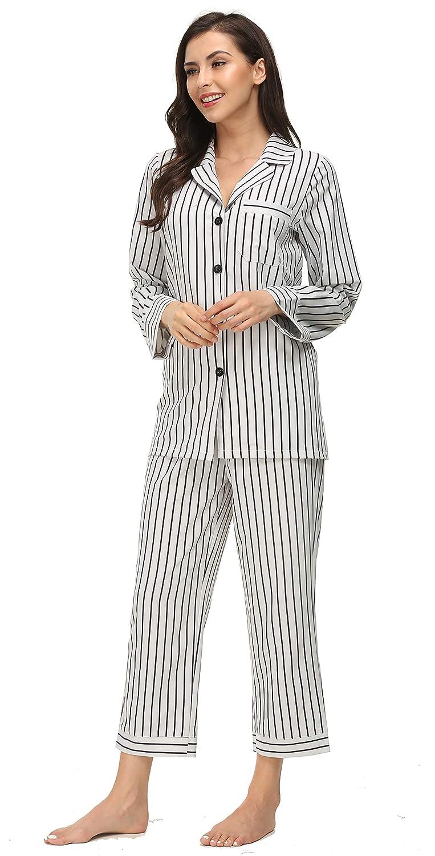 db2b1077ce Kiddom Womens Classic Silk Satin Pajamas Set Loungewear Button Up Long Sleeve  Sleepwear Collar Pockets Nighgowns Stripe Pjs at Amazon Women s Clothing  store ...