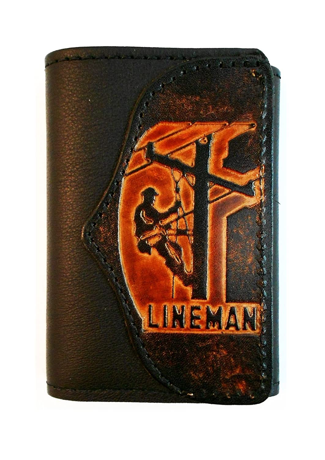 Hilltop Leather Company Mens Handcrafted Leather Trifold Wallet Lineman