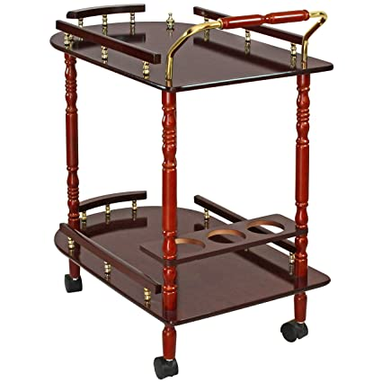 Spread Spain Wooden Contemporary Style 2 Tier Service Trolley/Bar Trolley/Kitchen Trolley (24�16�30 Inches, Mahogany)