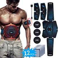 EMS Muscle Stimulator Abs Stimulator Belt USB Rechargeable Abdominal Toner 6 Pack Muscle Training for Men Women Abdomen Leg Arm Muscle Trainer in Home Office Fat Burner with Gel Sheet