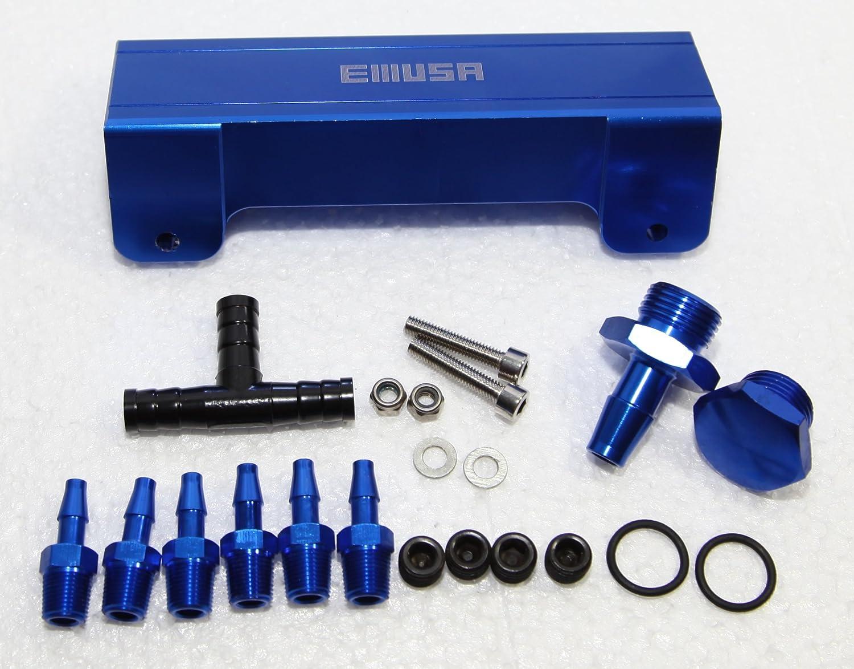 EMUSA 1//8 NPT 6 Port Vacuum Manifold Kit for Turbo Boost Intake Manifold BLUE