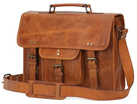 Rustic Town 15 Inch Distressed Buffalo Leather Laptop Messenger Bag Office  Briefcase College Bag (Brown)  Amazon.co.uk  Luggage 9fa80135ce22b