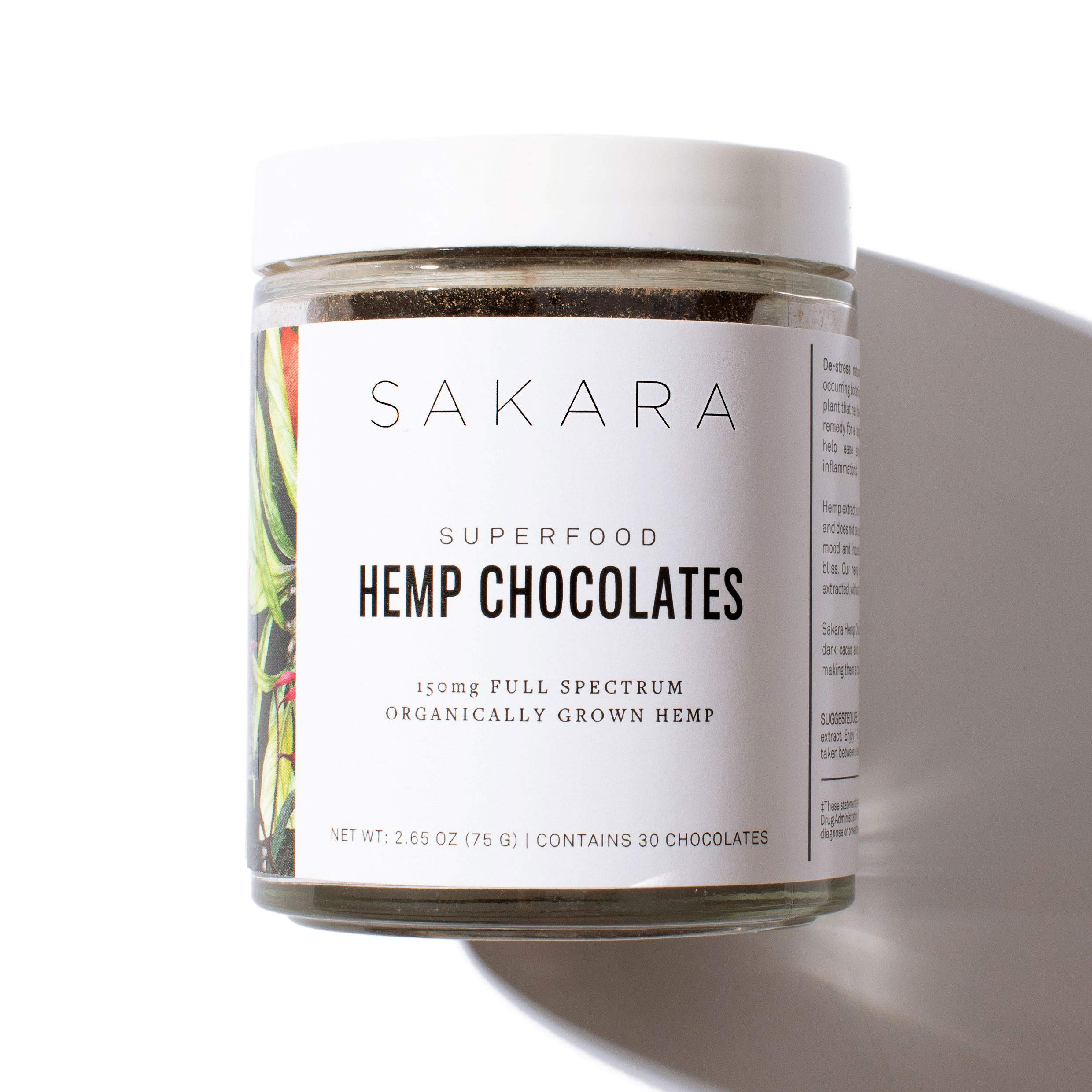 Sakara Stress Relief Hemp Oil Extract Chocolates, Anti-Anxiety Supplements, 30ct