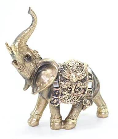 "Feng Shui 4.5""(H) Brass Color Elegant Elephant Trunk Statue Wealth Lucky Figurine Home Decor Gift US Seller"