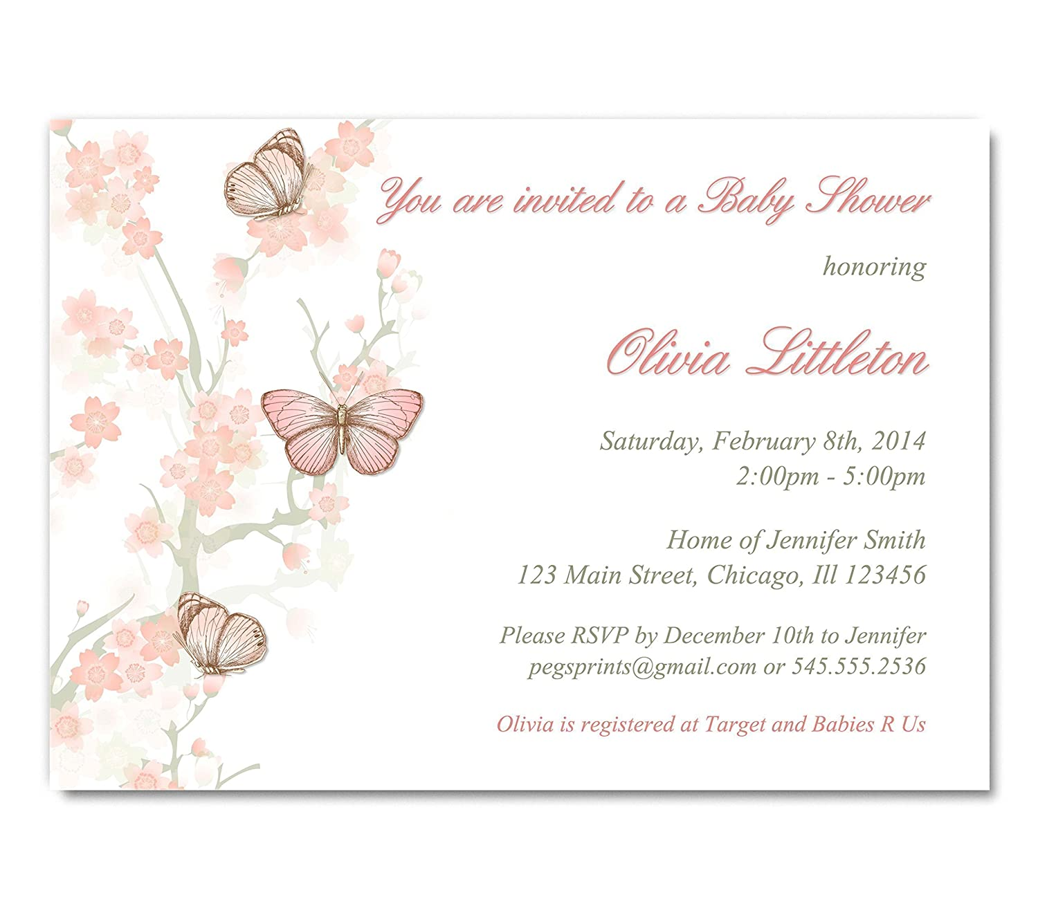 Amazon.com: Butterfly Baby Shower Invitation Girl - Butterfly Baby ...