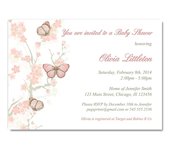 Amazon Butterfly Baby Shower Invitation Girl Butterfly Baby