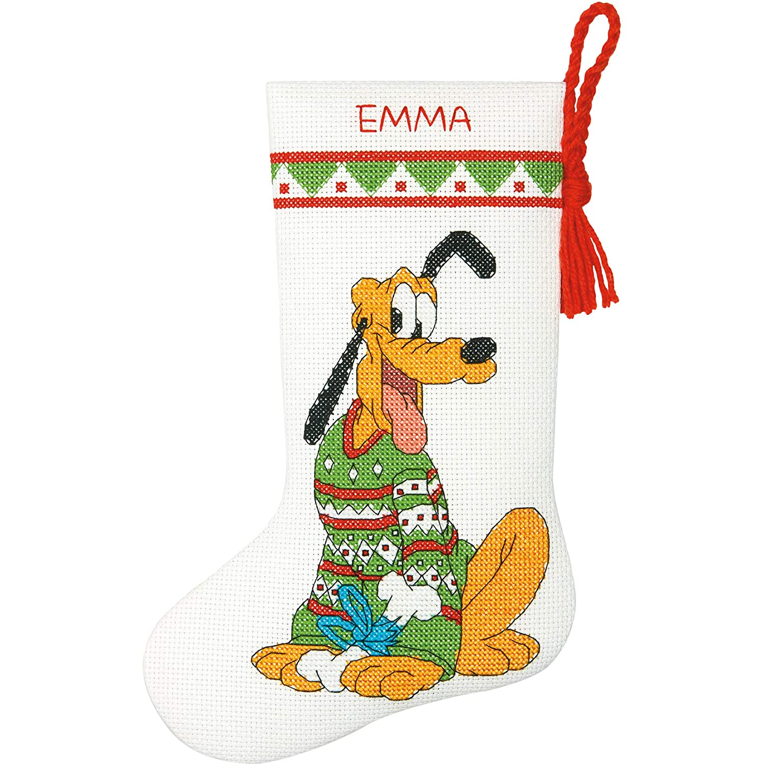 Dimensions Pluto Christmas Stocking Counted Cross Stitch Kit for Beginners 14 Count White Aida Cloth 10L