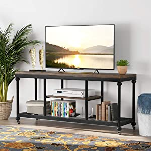 Tribesigns TV Stand, Rustic Pipe Frame TV Console Media Stand with Wheels and Metal Mesh for TVs Up to 60 Inches, Industrial 3-Tier Entertainment Center Media Console Table