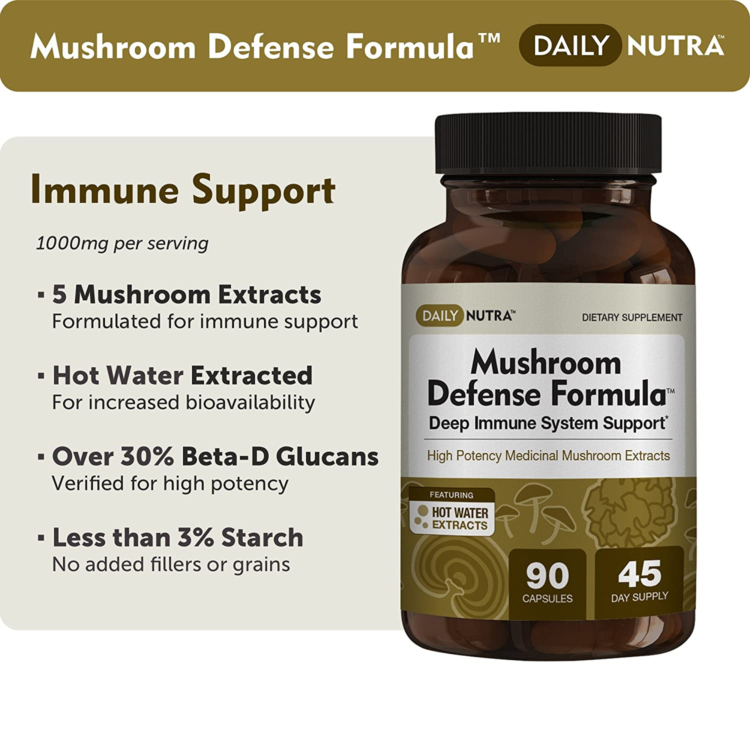 Mushroom Defense Formula – Deep Immune System Support – Medicinal Mushrooms Hot Water Extracted – Reishi, Chaga, Maitake, Shiitake Turkey Tail 3-Pack