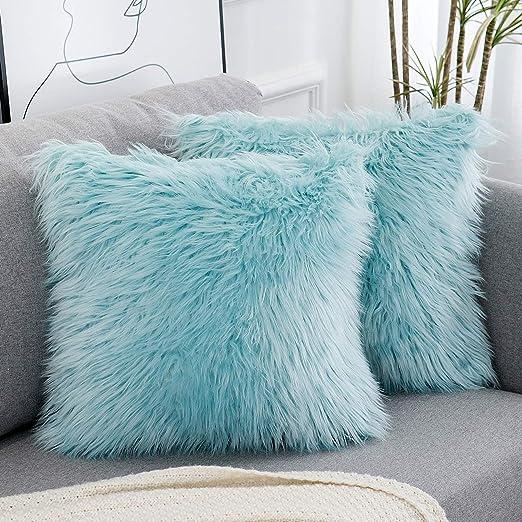 Amazon Com Wlnui Decorative Light Blue Fluffy Pillow Covers New