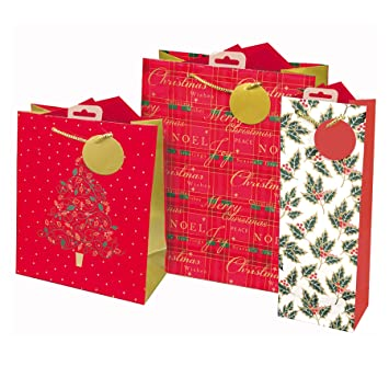 Christmas Gift Bags.Set 3 Christmas Gift Bags With Tags Medium Small Bottle