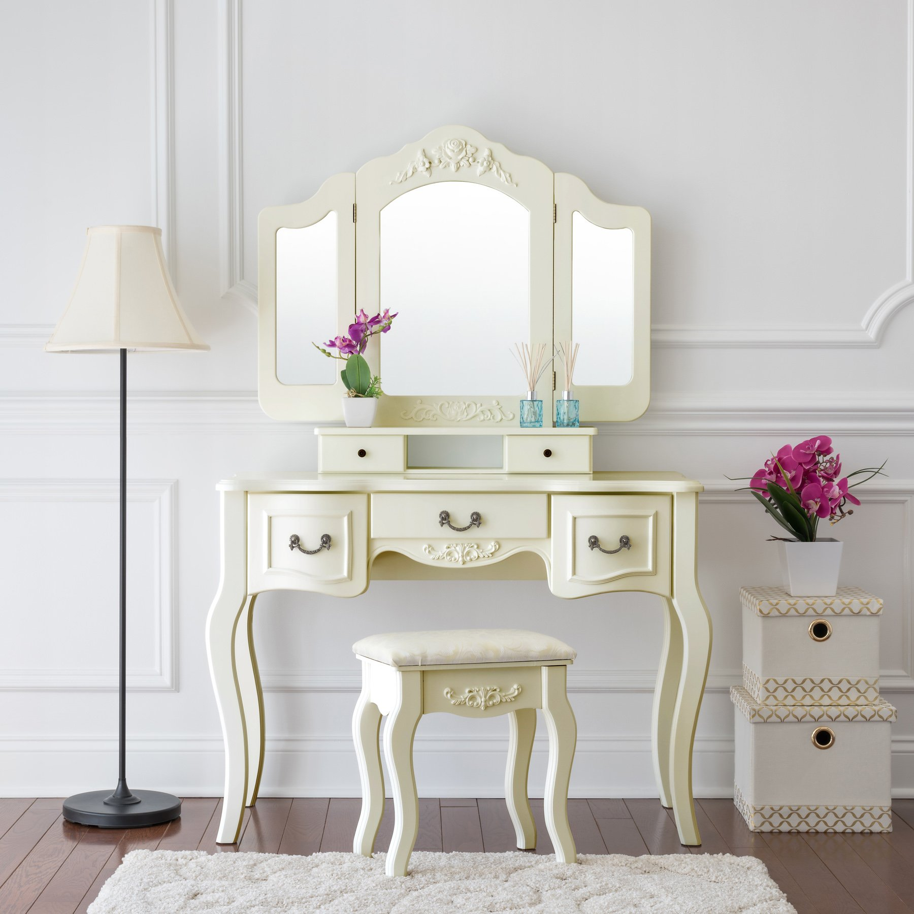 Fineboard FB-VT04-IVW Vanity Beauty Station Makeup Table and Wooden Stool 3 Mirrors and 5 Organization DrawersSet, Ivory White by Fineboard