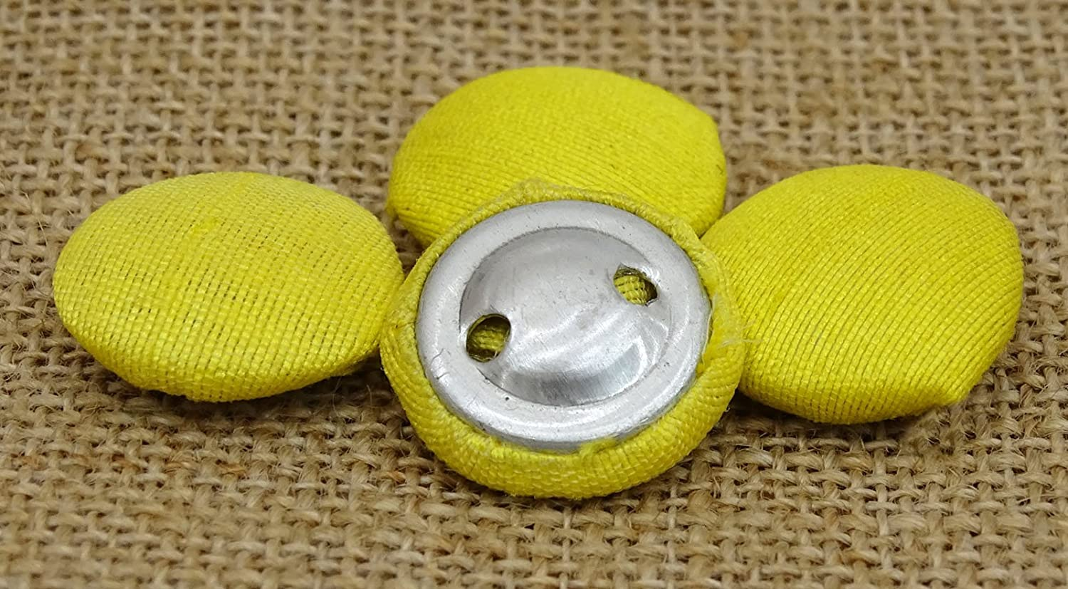 Cream Color Poly Dupion Fabric Cloth Covered Sewing 2 Holes Craft Button