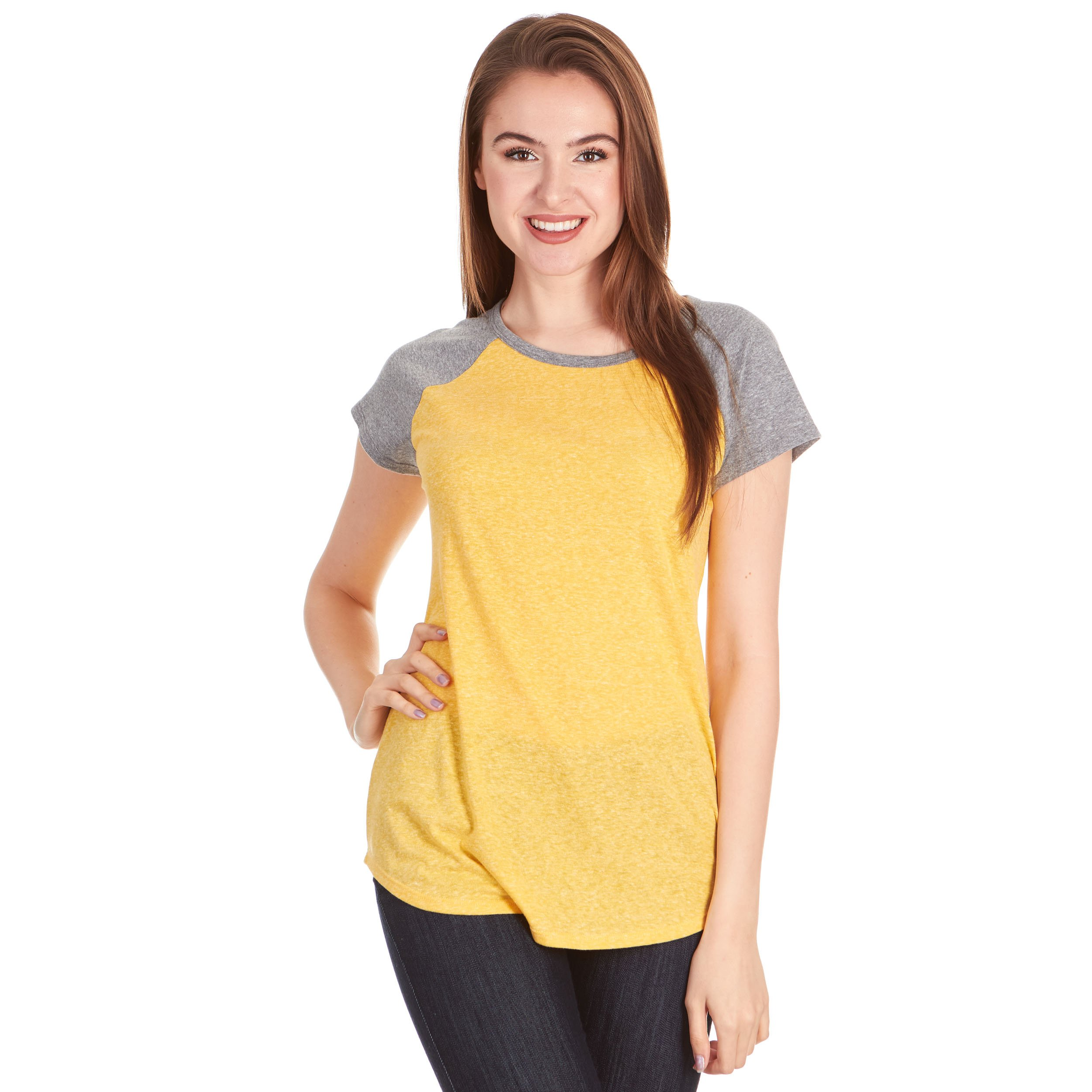 X America Women Raglan Frost Jersey Triblend Cap Sleeve Junior and Plus Sizes Baseball Tee, Made in USA …