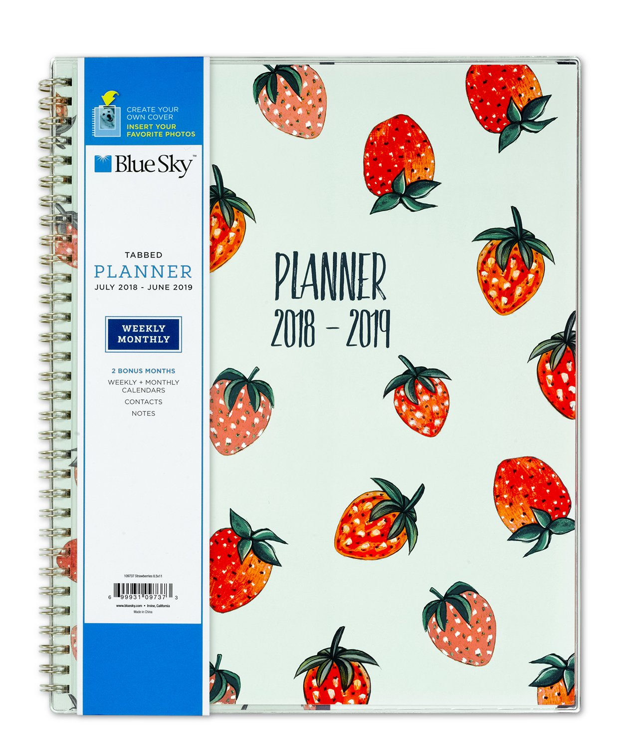 "Blue Sky 2018 2019 Academic Year Weekly & Monthly Planner, Flexible Cover, Twin Wire Binding, 8.5"" X 11"", Strawberries by Blue Sky"