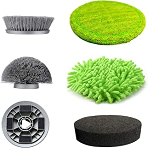 GOOD PAPA Electric Spin Scrubber, Rechargeable Battery Bathroom Scrubber,Power Scrubber Removable Handle with 5 Replaceable Brush Heads, Power Scrubber for Tub, Tile, Bathtub (Replace Brush Head)