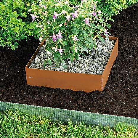 silberfarbig quadratisch Stahlblech feuerverzinkt 40 x 40 x 13 cm 99725 Mit patentierter Verbindungstechnik bellissa Rasenkante Square