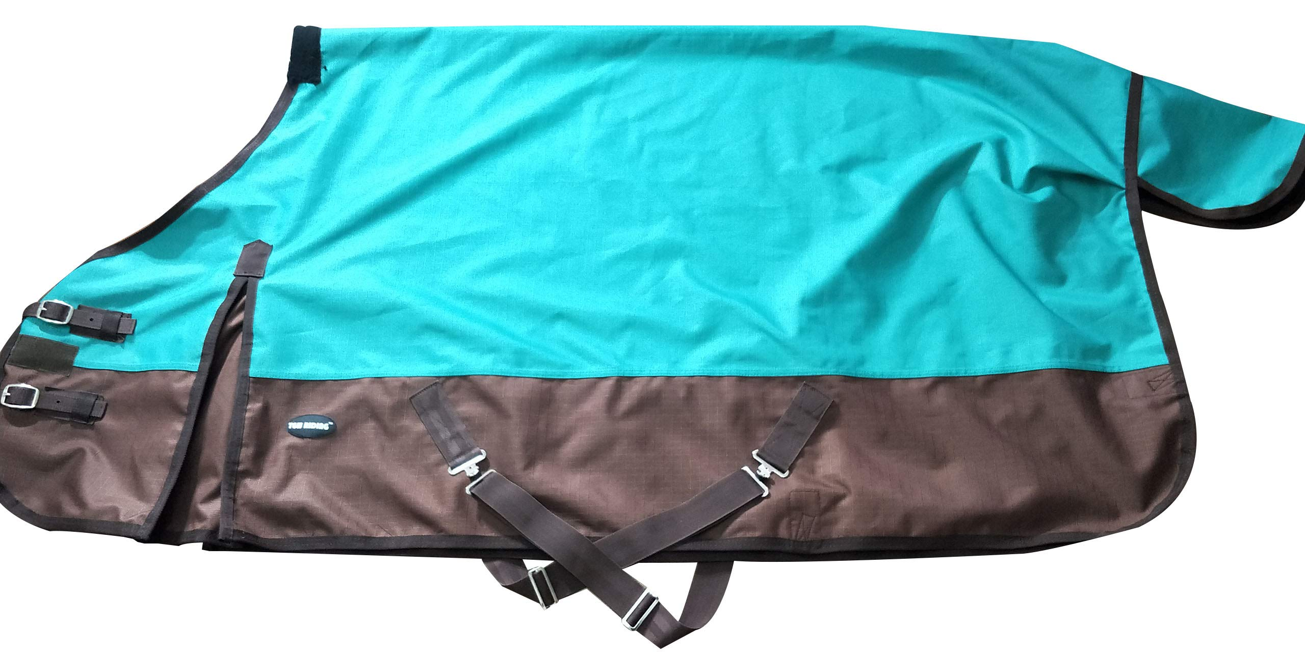 TGW RIDING 600 Denier Waterproof and Breathable Horse Turnout Sheet (82, Turquoise) Size from 68 to 82