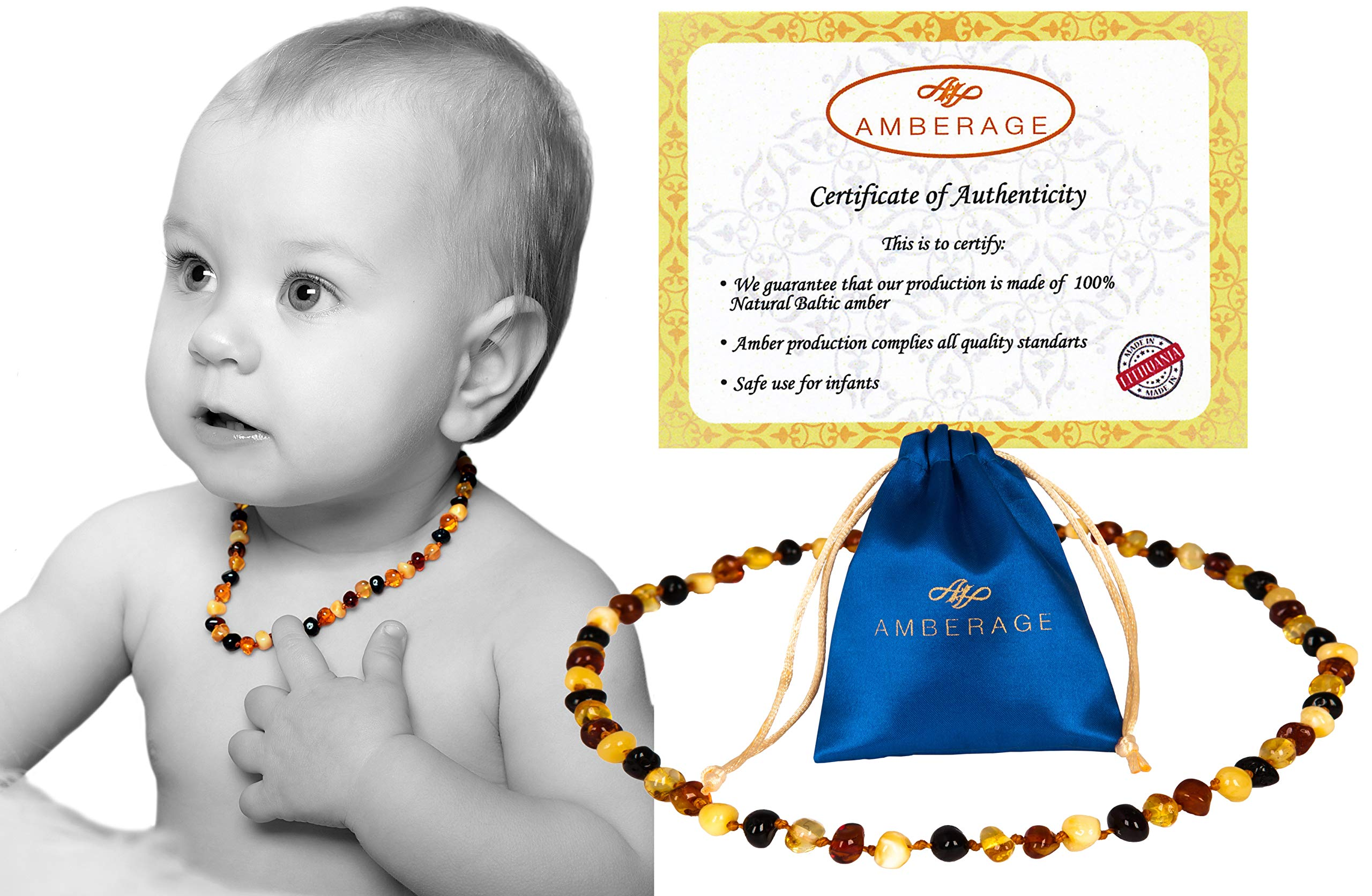 AMBERAGE Baltic Amber Baby Teething Necklaces (Unisex) Anti Flammatory, Drooling & Teething Pain Reduce Properties, Certificated Baroque Beads ( Multi ),Quality Guaranteed by AMBERAGE