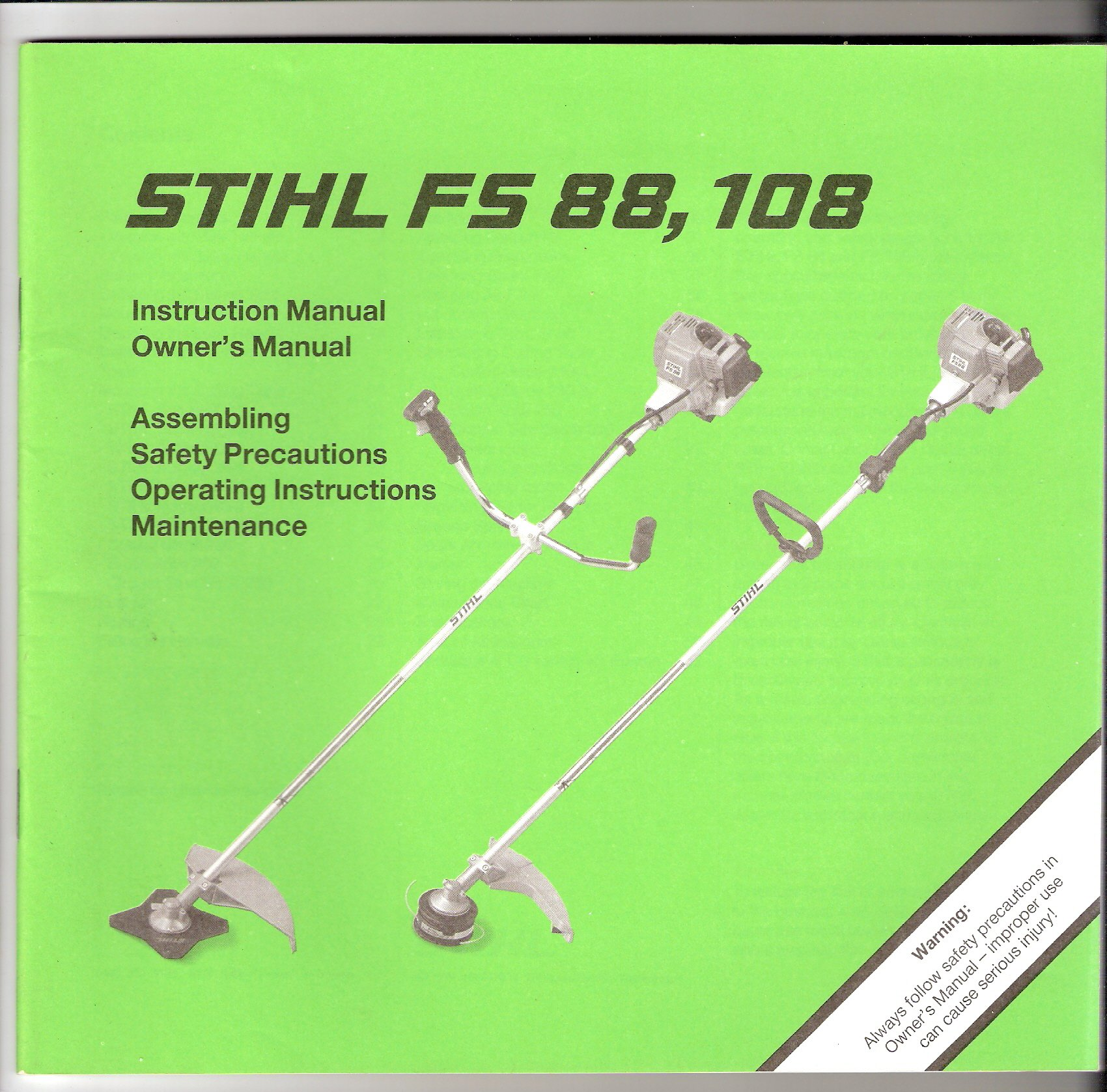 Stihl FS 88, 108 Instruction Manual Owner's Manual: Andreas Stihl:  Amazon.com: Books