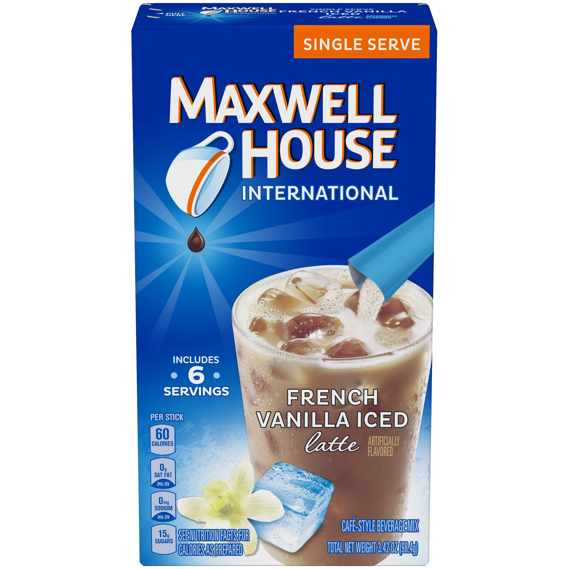 Maxwell House International French Vanilla Iced Latte Cafe-Style Beverage Mix, Caffeinated, 6 - 0.57 oz Packets (Pack of 8) by MAXWELL HOUSE
