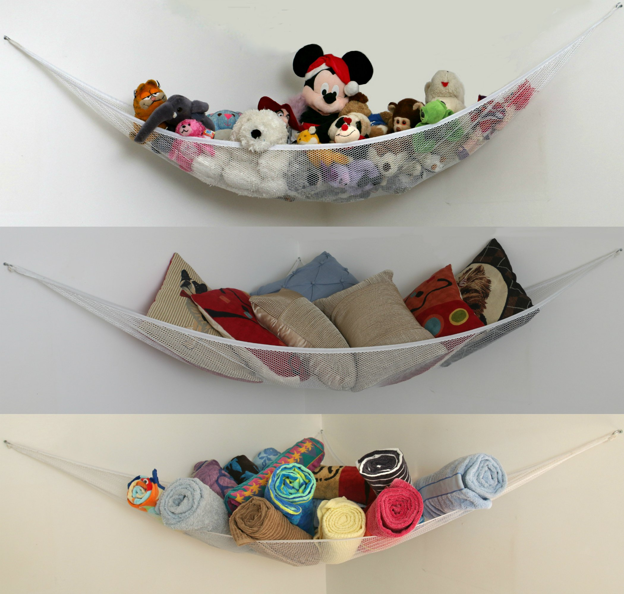 XL Toy Storage Hammock [Also in L Size] for Kids Stuffed Animals, Pool Toys, Sports Gear, Towels, Bedding. Corner Net and Bin Organizer. Top Quality, Suits Any Decor, Easy Install, Machine Washable by Corner Tidy