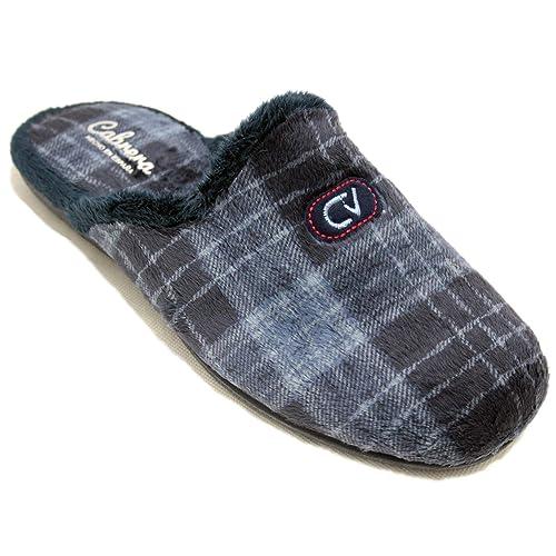 Cabrera 9404 - Zapatillas De Estar por Casa Hombre Joven con Estampado Clásico De Cuadros Grises Y Azules: Amazon.es: Zapatos y complementos