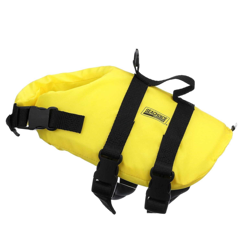 7 to 15 Pounds Seachoice 86310 Adjustable Polyethylene Dog Life Vest Yellow with Grab Handle Size XS