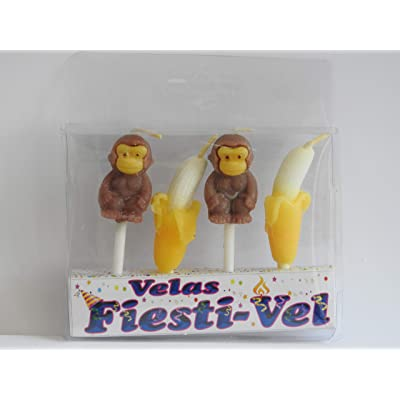 MONKEY/BANANA BIRTHDAY CAKE CANDLES: Toys & Games