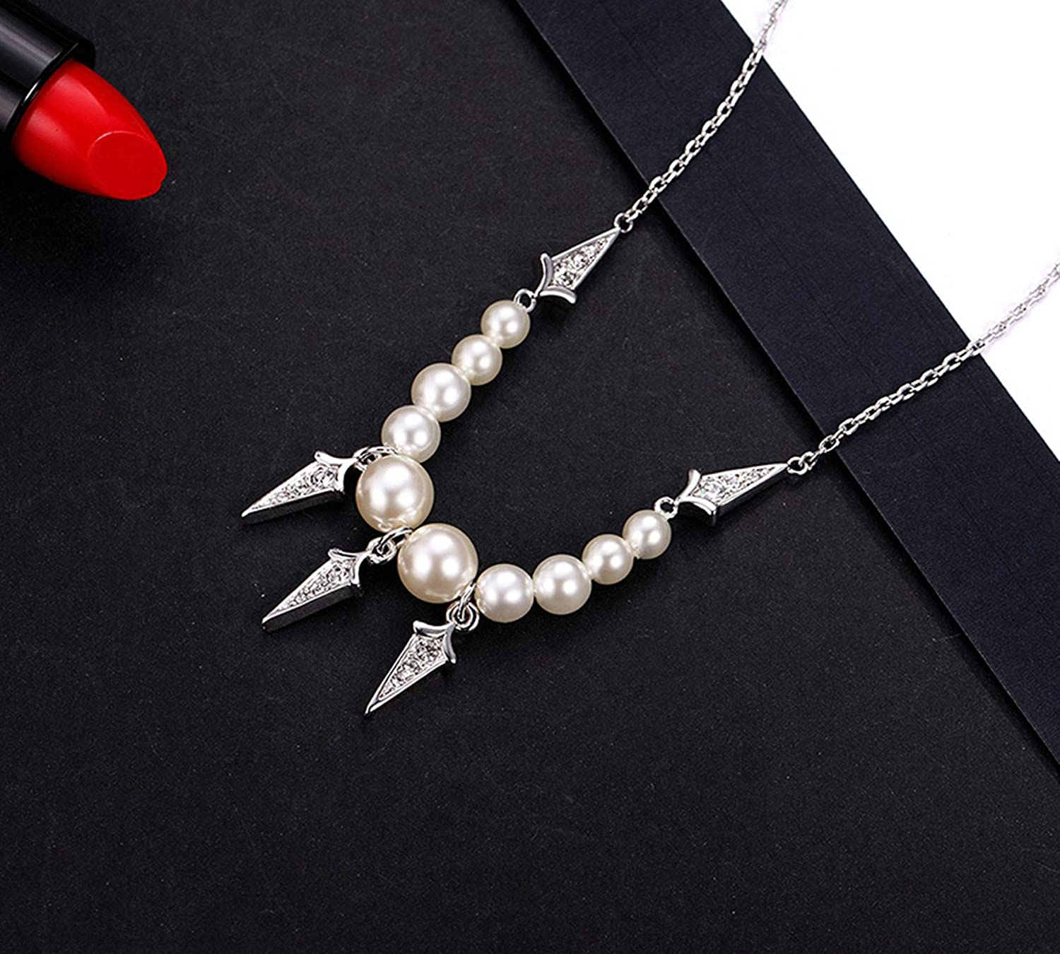 ANAZOZ Necklace for Women Silver Plated Cubic Zirconia Triangle Pendant Necklaces
