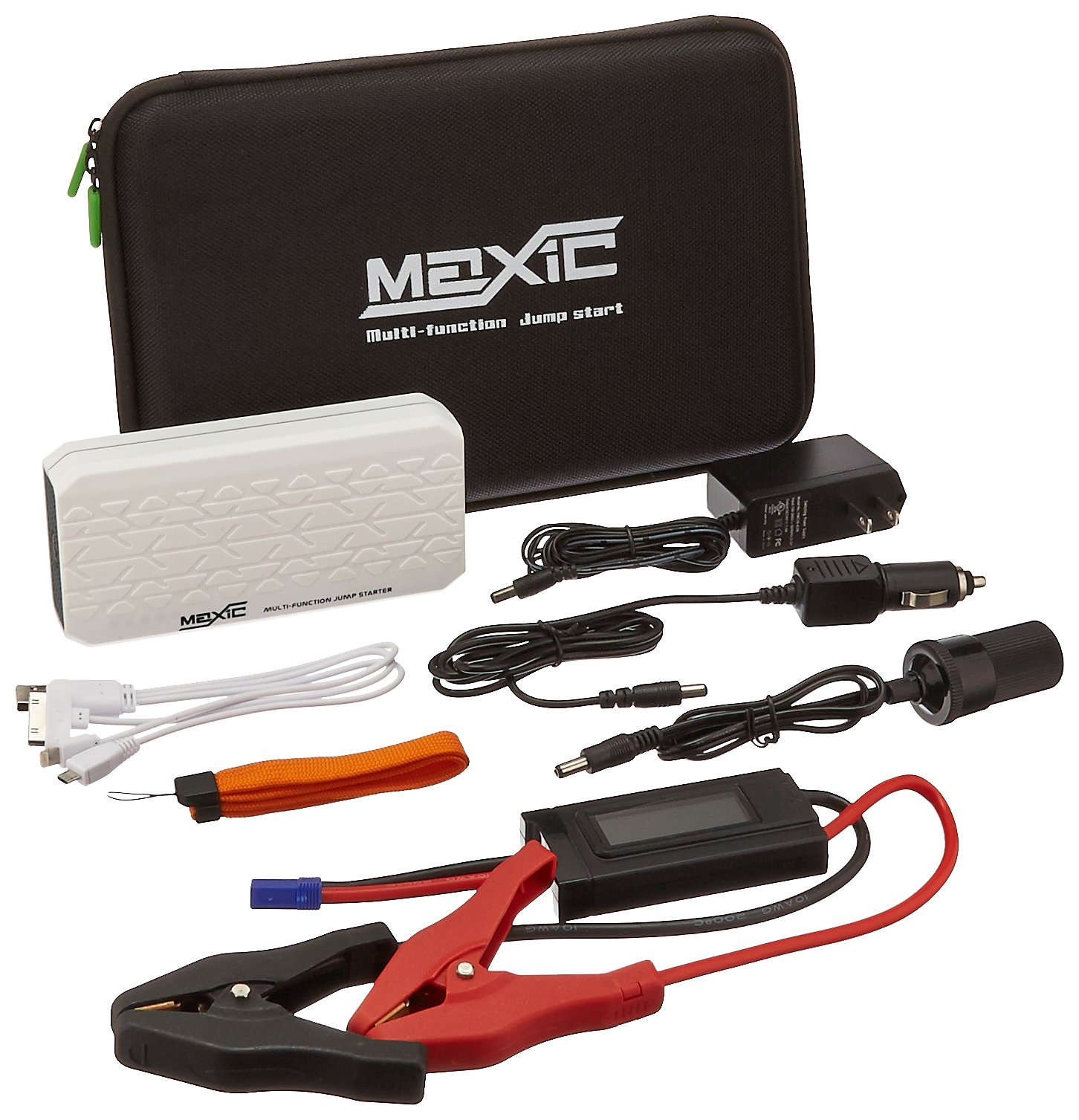 Maxic Compass-001 White Car Emergency Jump Starter with Power Bank for Phones and Portable Devices (Rechargeable, LED Readout Protection, LiPo Battery, Flashlight)