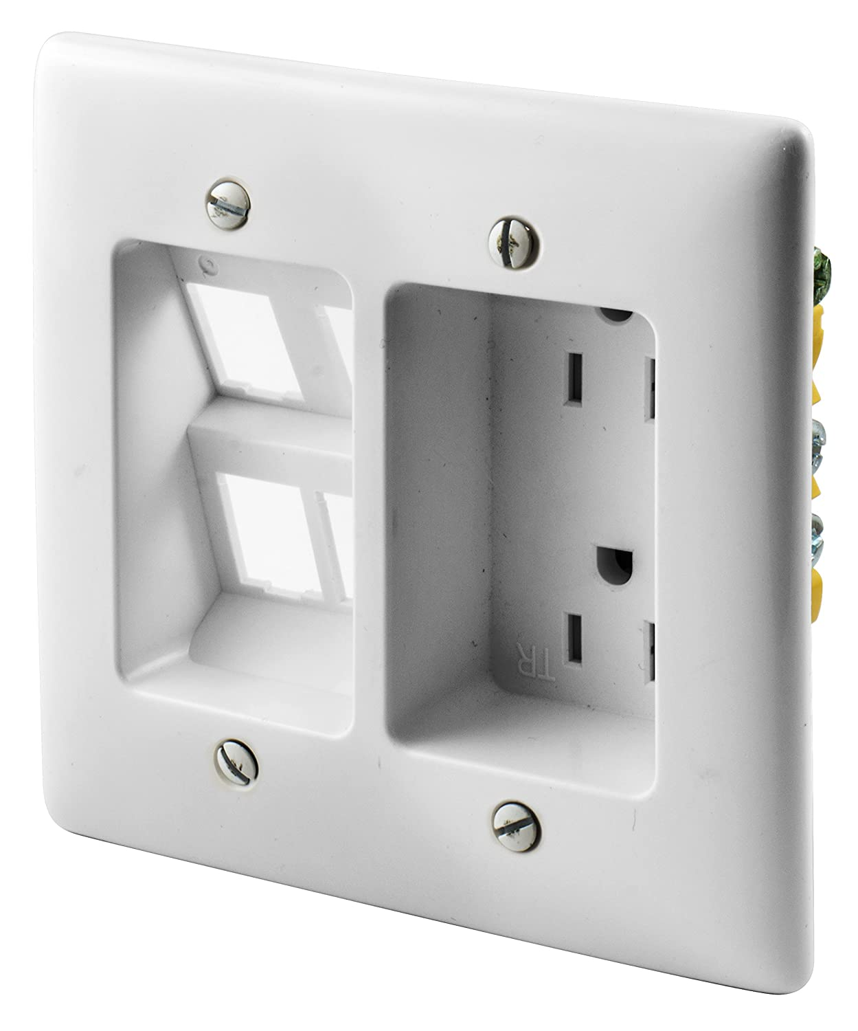 Bryant Electric NSAV1I 1-Gang Box Mount Recessed TV Connection Outlet Plate, Low-Voltage with Cable Pass-Thru, Nylon Wallplate, White