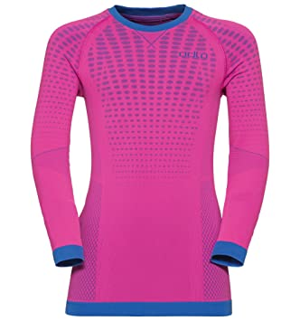 Odlo Shirt l/s Crew Neck Evolution Warm Ropa Interior, Infantil, Pink GLO