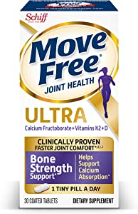Vitamins D & K2 + Calcium Fructoborate Ultra Bone Strength Support* Tablets, Move Free (30 Count in A Box), Clinically Proven Faster Joint Comfort٭ǂ¹² in Just 1 Tiny Pill Per Day