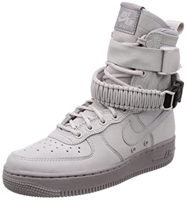 5a9990360209 Nike Unisex Shoes WMNS SF Air Force 1 Leather and Gray Fabric 857872 ...