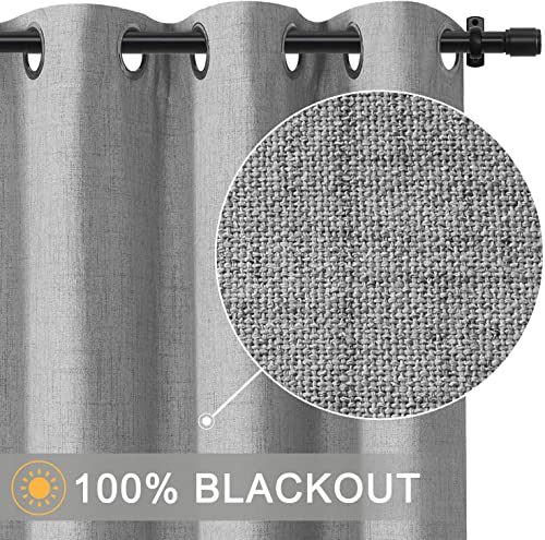 Rose Home Fashion 100 Blackout Curtains for Bedroom Linen Textured Look Drapes with Blackout Liner, Curtains for Living Room Farmhouse, Burlap Curtains-Set of 2 Panels 50×108 Grey