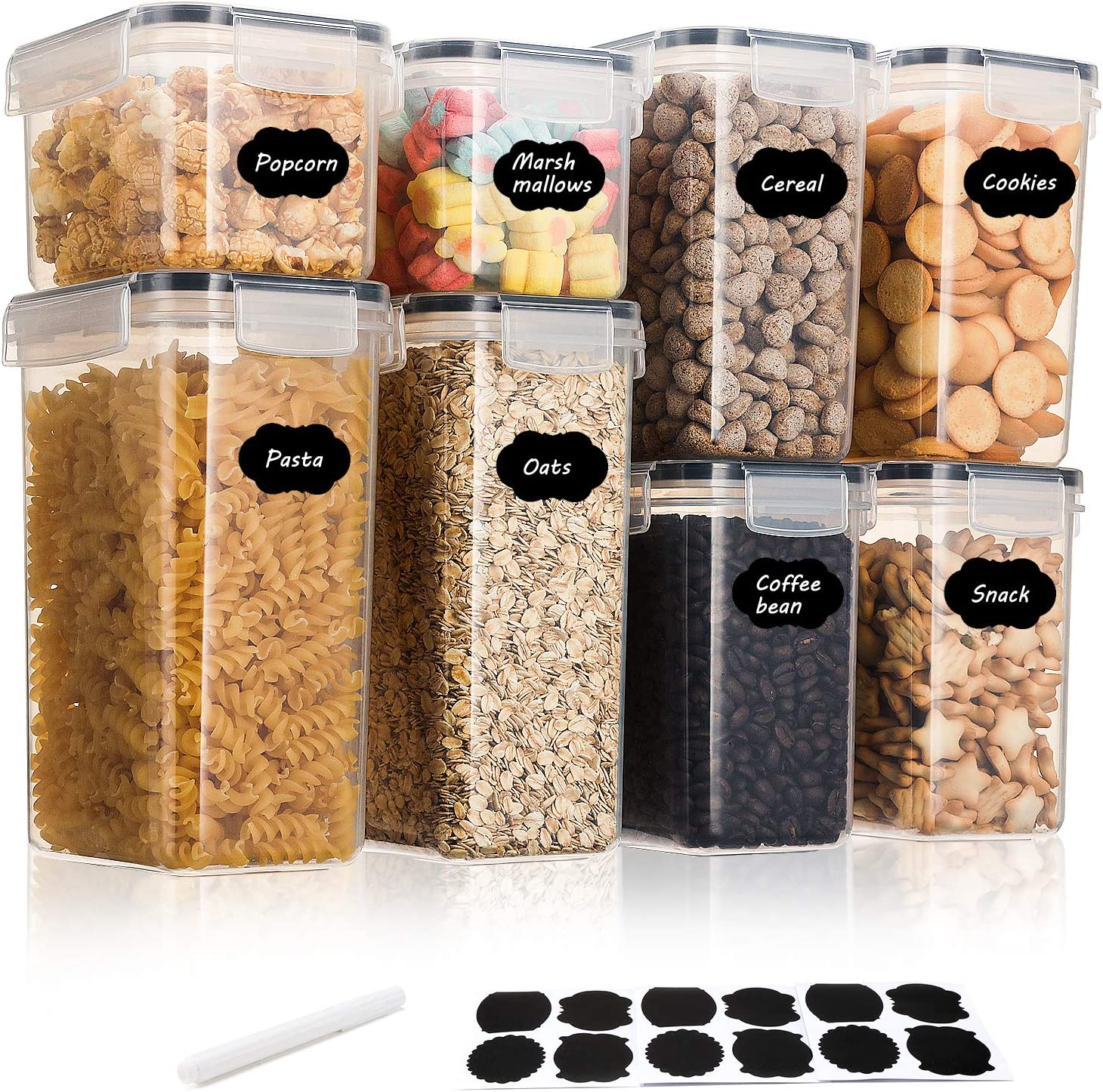 Aitsite Airtight Food Storage Containers 8 Pieces Plastic BPA Free Kitchen Pantry Storage Containers for Sugar, Flour and Baking Supplies - Dishwasher Safe
