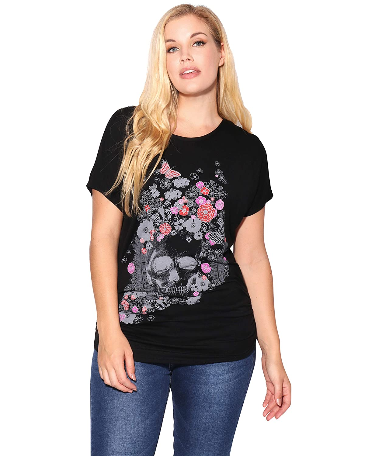 b360de179 Great party tee shirt with shiny animal print. Foil details with ruched  sides and banded hem. This tunic top is the perfect length to be worn with  ...