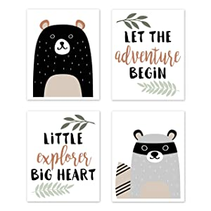 Sweet Jojo Designs Beige, Green, Black and Grey Bear Racoon Forest Animal Wall Art Prints Room Decor for Baby, Nursery, and Kids for Woodland Pals Collection - Set of 4 - Adventure Explorer