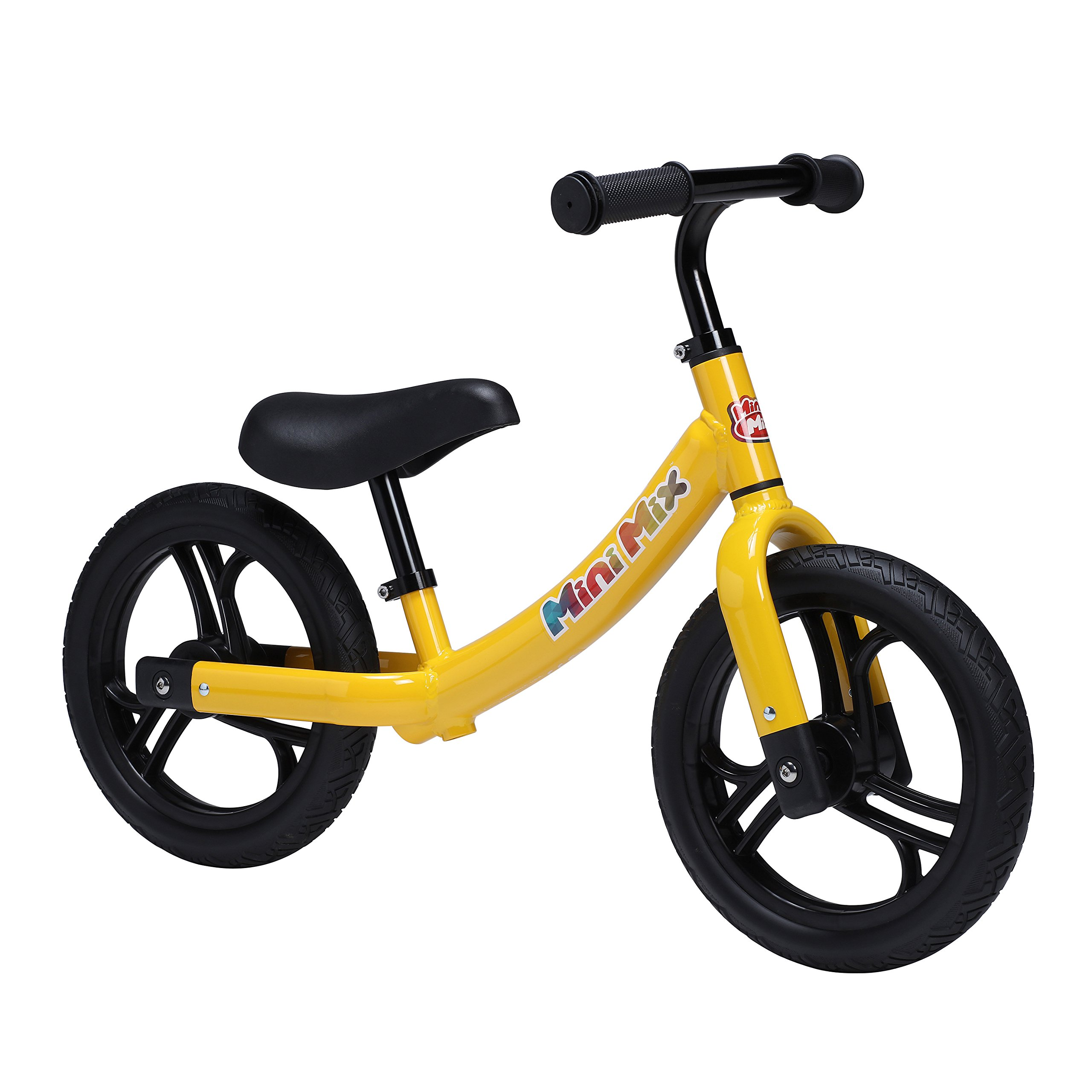 Mini Mix Balance Bike For Kids And Toddlers with Padded Seat, No Pedal Aluminum Frame and 12 Inch No Flat Tire