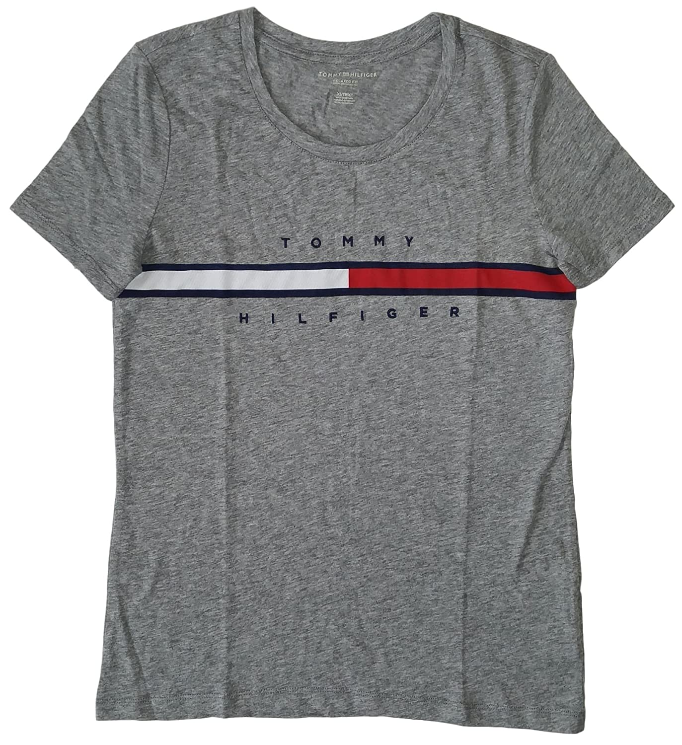432b24e7 Tommy Hilfiger Women's Big Logo Line T-Shirt: Amazon.ca: Clothing &  Accessories