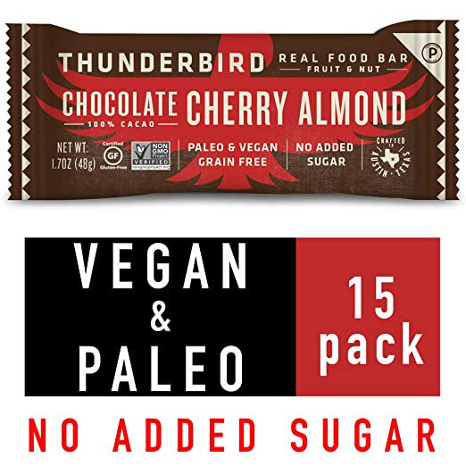 Thunderbird Paleo and Vegan Snacks - Real Food Energy Bars - Nut & Seed - Box of 15 - No Added Sugar, Grain and Gluten Free, Non GMO (Chocolate Cherry Almond) best paleo bars