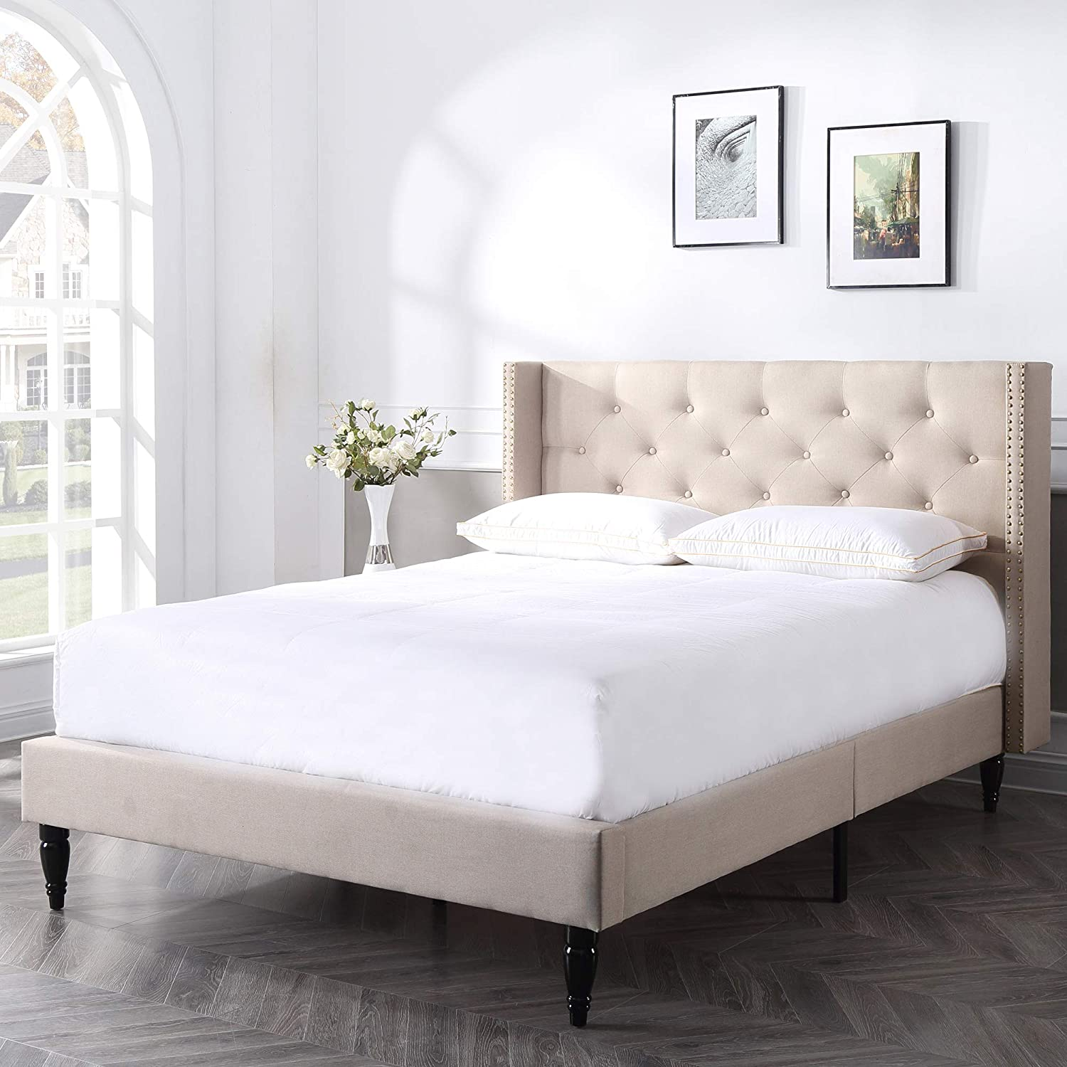 Classic Brands DeCoro Berkeley Upholstered Platform Bed Headboard and Metal Frame with Wood Slat Support Linen, Queen